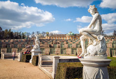 Sanssouci Palace in Potsdam, Germany. A marble statue of Apollo, from around 1750, located at Sanssouci summer palace of Frederick the Great, King of Prussia, in Stock Photo