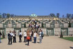Sanssouci palace in Potsdam: Tourists enjoying Stock Photos