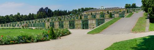 Sanssouci Palace - Terrace View, Potsdam, Germany. Panorama Sanssouci palace was built by order of Frederick the Great. Potsdam, Prussia, Germany royalty free stock photos