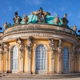 Sanssouci-Palast in Podstdame Stockfotos