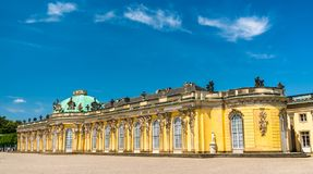 Sanssouci, the summer palace of Frederick the Great, King of Prussia, in Potsdam, Germany. Sanssouci Palace, the summer palace of Frederick the Great, King of stock image