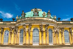 Sanssouci, the summer palace of Frederick the Great, King of Prussia, in Potsdam, Germany. Sanssouci Palace, the summer palace of Frederick the Great, King of stock images