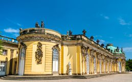 Sanssouci, the summer palace of Frederick the Great, King of Prussia, in Potsdam, Germany. Sanssouci Palace, the summer palace of Frederick the Great, King of stock photo