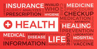 Santé, assurance, médicale - nuage de Word illustration libre de droits