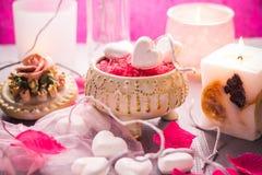 Santé de corps d'amour de coeur de jour de valentines de composition en station thermale Photo stock