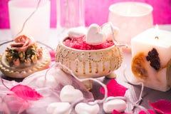 Santé de corps d'amour de coeur de jour de valentines de composition en station thermale Images stock