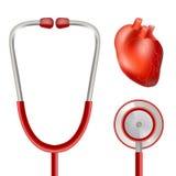 Santé et stéthoscope de coeur d'isolement sur un fond blanc Illustration réaliste de vecteur Image libre de droits
