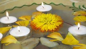 Santé et station thermale : fleurs, cailloux, l'eau Photos stock