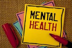 Santé mentale des textes d'écriture Concept signifiant le bien-être psychologique et émotif de condition d'une personne photos libres de droits