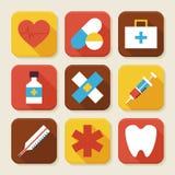 Santé plate et icônes d'APP carrées par médecine réglées Photographie stock libre de droits