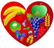 Santé pour le coeur - nourriture végétarienne illustration libre de droits