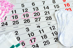 Santé protectrice de femme, jours de règles Image stock