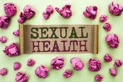 Santé sexuelle des textes d'écriture de Word Concept d'affaires pour le soin sain de sexe d'habitudes de protection d'utilisation Images stock