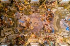 Sant伊格纳措教会被绘的天花板 免版税库存图片