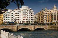 Sant塞巴斯蒂安天视图  圣卡塔利娜桥梁 库存照片