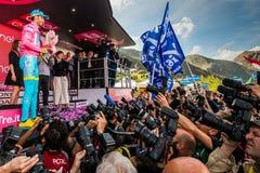 Sant Анна, Италия 28-ое мая 2016; Vincenzo Nibali, команда Астаны, на подиуме в розовом Джерси Стоковое Фото