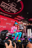 Sant Анна, Италия 28-ое мая 2016; Vincenzo Nibali, команда Астаны, на подиуме в розовом Джерси Стоковые Фото