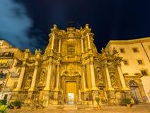Sant `安娜la Misericordia,一个巴洛克式的教会在巴勒莫,意大利 免版税库存照片