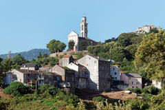 Sant `安德里亚di Cotone村庄在上部可西嘉岛 免版税库存照片