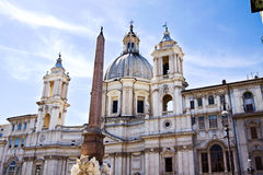 Sant'Agnese in Agnone and Bernini's monumental Fontana dei Fiumi Royalty Free Stock Photography
