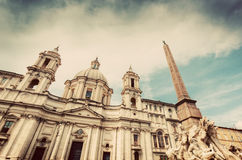Sant'Agnese in Agone church on Piazza Navona, Rome, Italy. Vintage Royalty Free Stock Photography