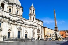 Sant`Agnese in Agone church from Piazza Navona, Rome, Italy, wit royalty free stock photos