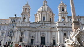 Sant'Agnese in Agone. Piazza Navona, Rome, Italy. February 18, 2015: Square was built in the XVII century in Baroque style.. Video. UltraHD (4K