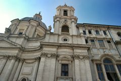 Sant Agnese Church in Piazza Navona in Rome, Italy. Sant Agnese Church in Piazza Navona, city square built on the site of the Stadium of Domitian stock photo