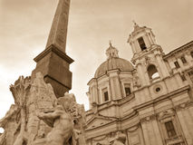 Sant'Agnese and Fountain, Rome - monochrome Stock Photo