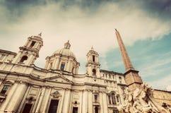 Sant'Agnese w Agone kościół na piazza Navona, Rzym, Włochy Rocznik Fotografia Royalty Free