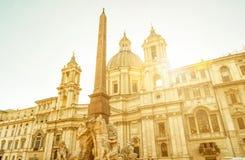 Sant'Agnese w Agone w piazza Navona, Rzym Zdjęcie Royalty Free