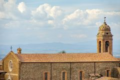 Sant`Agostino Church in Montalcino town, Val d`Orcia, Tuscany, I. Taly. The church and adjacent convent were erected by the Augustinian order in 1227 Royalty Free Stock Images
