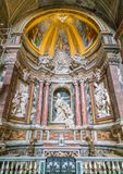 Side chapel in the Church of Sant`Agostino in Rome, Italy. Sant`Agostino is a Roman Catholic church in the piazza of the same name near Piazza Navona, in the Royalty Free Stock Photos
