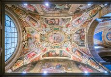 Ceiling fresco by G.B. Ricci in the chapel of Nicholas Tolentino in the Church of Sant`Agostino in Rome, Italy. Sant`Agostino is a Roman Catholic church in the Royalty Free Stock Photo