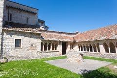 Sant Ambrogio di Valpolicella medieval church cloister, Italy. Valpolicella area landmark gargagnago giorgio santambrogio valley ancient architecture blue stock images