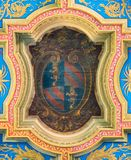 Pope Pius IX coat of arms in the ceiling of the Basilica of Sant`Anastasia near the Palatine in Rome, Italy. royalty free stock photos