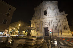Sant'Andrea della Valle basilica church in Rome, Italy. Night Royalty Free Stock Image
