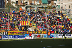 Sant Andreu supporters. At Spanish Cup match between Sant Andreu and Atletico de Madrid, final score 0-4, on December 7, 2013, in Barcelona, Spain. Atletico de Royalty Free Stock Image
