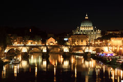 Sant  Angelo Bridge And Basilica Of St. Peter Royalty Free Stock Photo