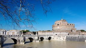 Sant' Angelo Bridge and Castle Sant Angelo Royalty Free Stock Images