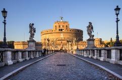 Sant ` Angelo Bridge och Sant ` Angelo Castel, Rome Arkivfoton