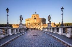 Sant ` Angelo Bridge och Sant ` Angelo Castel, Rome Fotografering för Bildbyråer