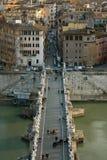 Sant'Angelo Bridge - Rome, Italy. Travel Series. View above Sant'Angelo bridge in Rome, Italy Royalty Free Stock Images