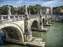 Sant'Angelo bridge in Rome. The bridge is known throughout the world and has a special, romantic look Royalty Free Stock Photo