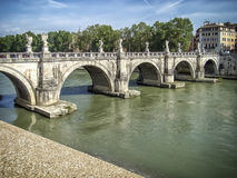 Sant'Angelo bridge in Rome. The bridge is known throughout the world and has a special, romantic look Royalty Free Stock Image