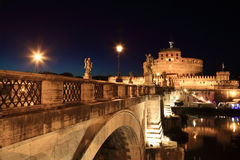 Sant' Angelo Bridge and Sant' Angelo Castel Royalty Free Stock Photos
