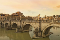Sant'Angelo Bridge at sunset, Rome Royalty Free Stock Photo