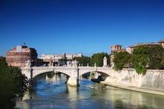 Sant' Angelo Castel and Ponte Vittorio Emanuele Stock Photo