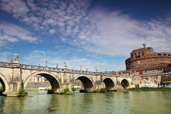 Sant' Angelo Castel and Sant' Angelo Bridge Royalty Free Stock Photos