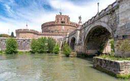 Sant`Angelo castel - Tevere river - Rome - Italy. View of Sant`Angelo castel - Tevere river - Rome - Italy stock photo